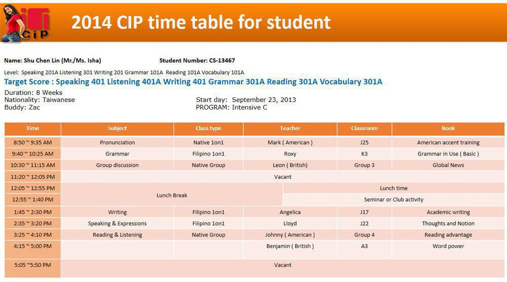 Ielts courses at cip clark vseco company for Rgpv time table 8 th sem