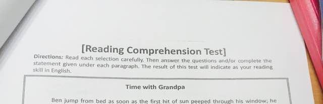 reading test